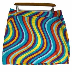 LoudMouth Rainbow Striped Retro Golf Skirt Size 14